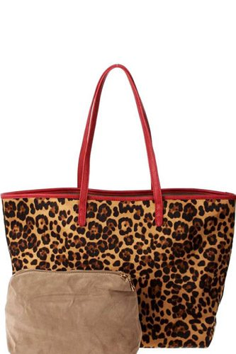 2in1 designer trendy leopard suede shopper bag-id.cc39665