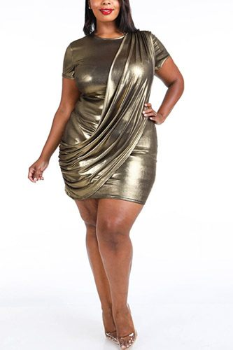 Draped metallic mini dress-id.cc39670