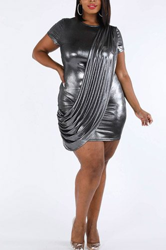 Draped metallic mini dress-id.cc39670a