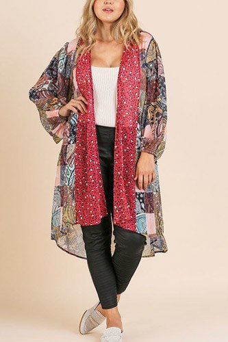 Sheer animal scarf mixed print long puff sleeve open front long kimono-id.cc39671a