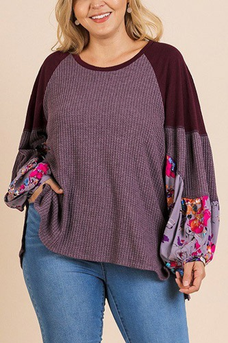 Floral print long puff sleeve round neck waffle knit top-id.cc39672