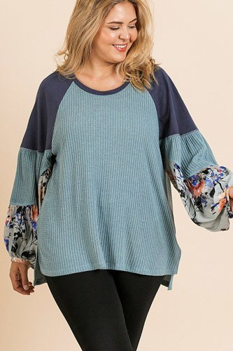 Floral print long puff sleeve round neck waffle knit top-id.cc39672b