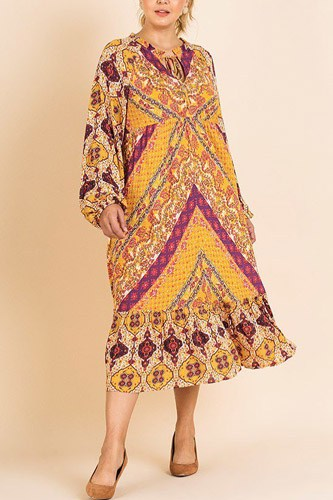 Scarf mixed print long puff sleeve keyhole maxi dress-id.cc39674a