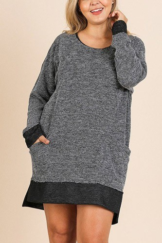 Heathered knit long sleeve round neck dress-id.cc39675