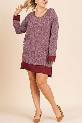 Heathered knit long sleeve round neck dress-id.cc39675a