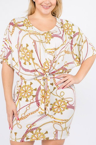 Plus size multi color print short sleeve dress-id.cc39676a