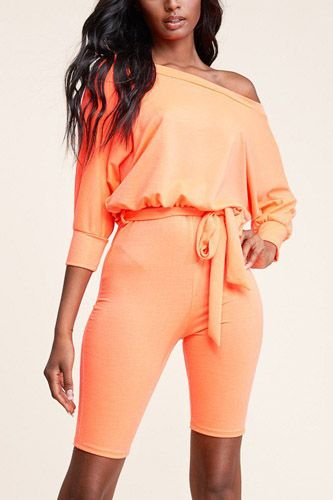 Slouchy solid french terry 3/4 sleeve romper-id.cc39677