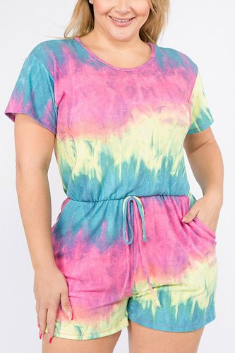 Tie dye french terry short sleeve romper with pockets-id.cc39679
