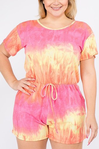 Tie dye french terry short sleeve romper with pockets-id.cc39679a