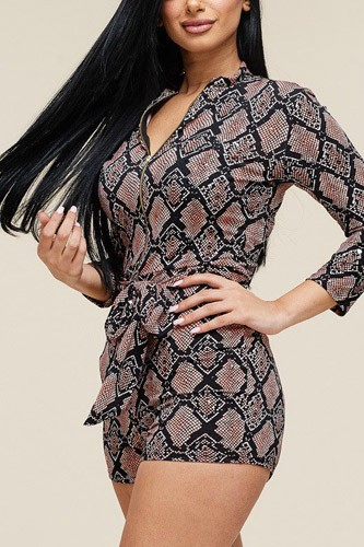 Multi color snake print 3/4 sleeve romper-id.cc39680a