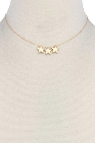 Three star charm metal necklace-id.cc39682