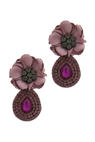 Flower rhinestone post drop earring-id.cc39686
