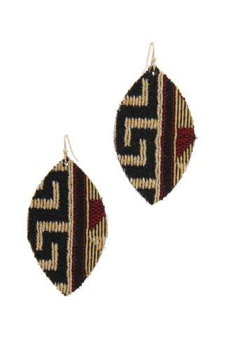 Fabric pointed oval drop earring-id.cc39687