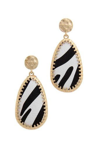 Animal pattern teardrop shape post drop earring-id.cc39689