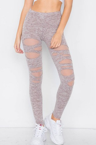 Marled taupe sheer lining distressed leggings-id.cc39713