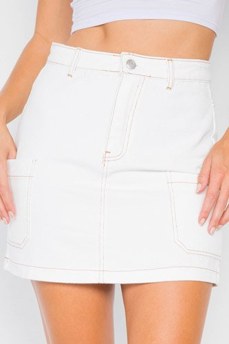 Ivory cotton mini retro chic denim skirt-id.cc39716