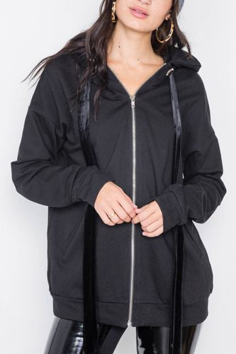 Black cotton zip-up hoodie sweater-id.cc39717