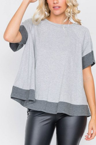 Grey contrast trim flare cotton tee-id.cc39719