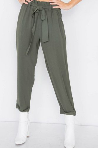 Dark olive office chic ankle length dress pants-id.cc39720