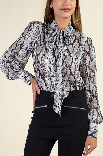 Snake skin tie neck top-id.cc39722
