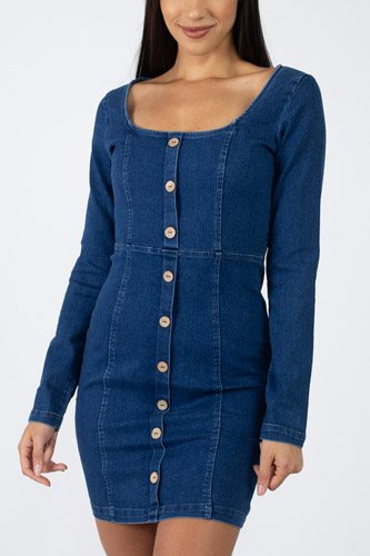 Square neck denim dress-id.cc39723