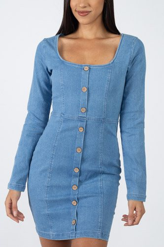 Square neck denim dress-id.cc39723a
