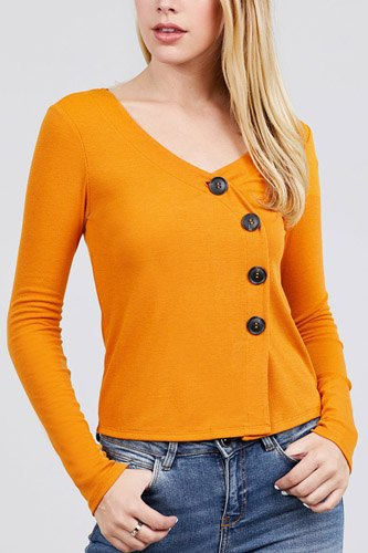 Long sleeve v-neck cross wrap w/button detail rib knit top-id.cc39726