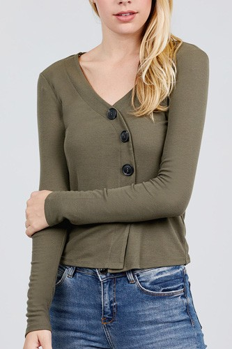 Long sleeve v-neck cross wrap w/button detail rib knit top-id.cc39726a