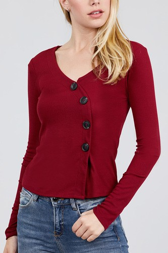 Long sleeve v-neck cross wrap w/button detail rib knit top-id.cc39726b