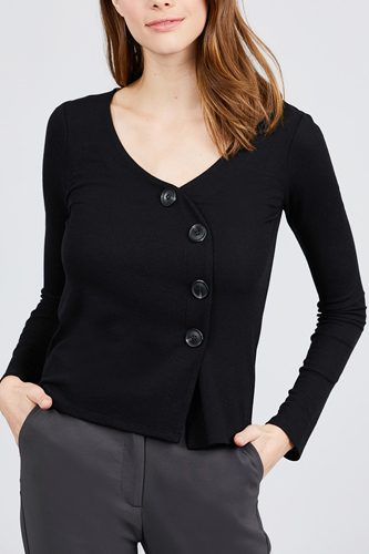 Long sleeve v-neck cross wrap w/button detail rib knit top-id.cc39726c