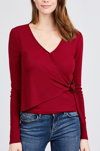Long sleeve deep v-neck side buckle detail rib knit top-id.cc39727