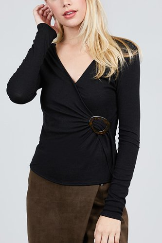 Long sleeve deep v-neck side buckle detail rib knit top-id.cc39727a