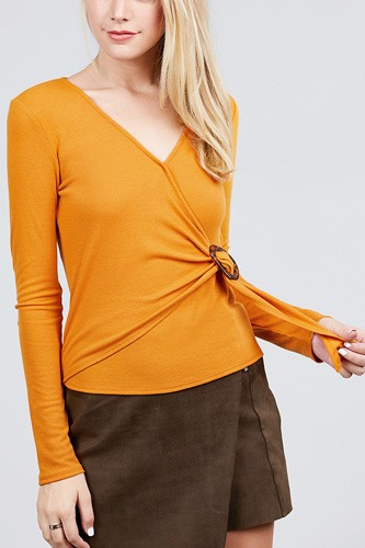 Long sleeve deep v-neck side buckle detail rib knit top-id.cc39727b