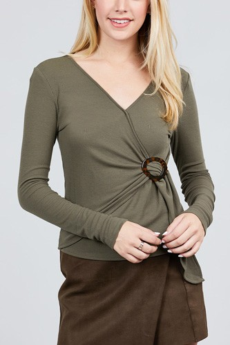 Long sleeve deep v-neck side buckle detail rib knit top-id.cc39727c
