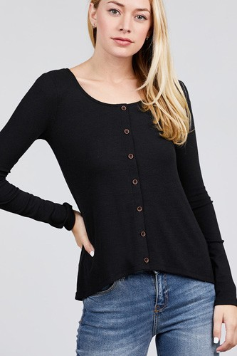 Long sleeve round neck button detail rib knit top-id.cc39728a