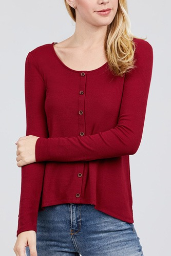 Long sleeve round neck button detail rib knit top-id.cc39728b