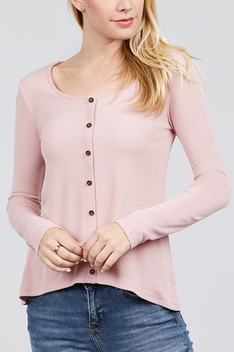 Long sleeve round neck button detail rib knit top-id.cc39728c
