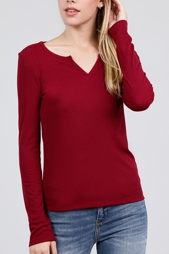 Long sleeve v-notch neck rib knit top-id.cc39729a