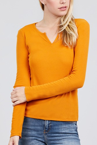 Long sleeve v-notch neck rib knit top-id.cc39729b
