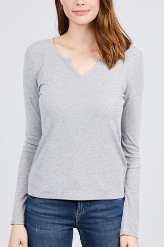 Long sleeve v-notch neck rib knit top-id.cc39729c