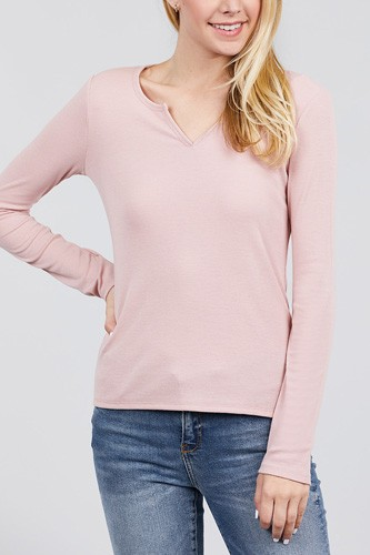Long sleeve v-notch neck rib knit top-id.cc39729d