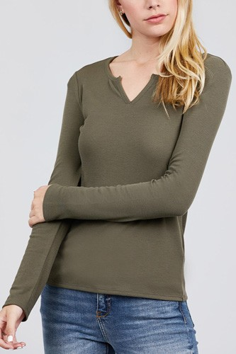 Long sleeve v-notch neck rib knit top-id.cc39729e