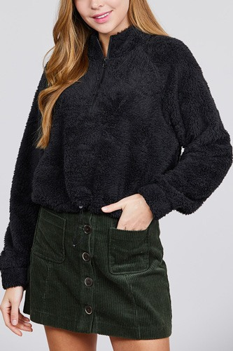 Long dolman sleeve mock neck w/zipper detail toggle elastic hem faux fur top-id.cc39730
