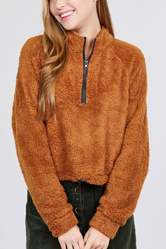 Long dolman sleeve mock neck w/zipper detail toggle elastic hem faux fur top-id.cc39730b