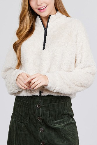 Long dolman sleeve mock neck w/zipper detail toggle elastic hem faux fur top-id.cc39730c