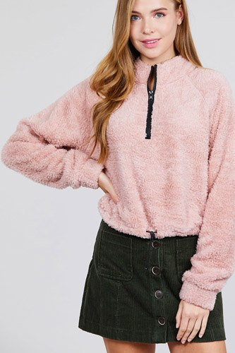 Long dolman sleeve mock neck w/zipper detail toggle elastic hem faux fur top-id.cc39730d