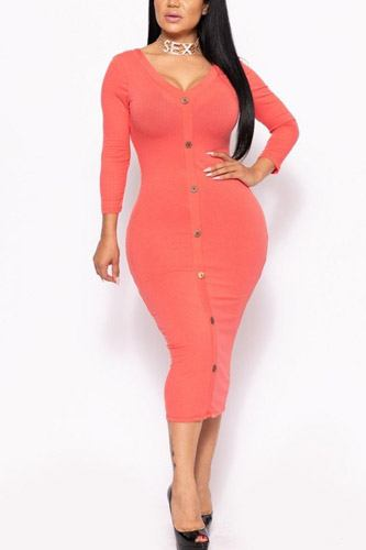 Ribbed, long sleeve solid midi dress-id.cc39731c