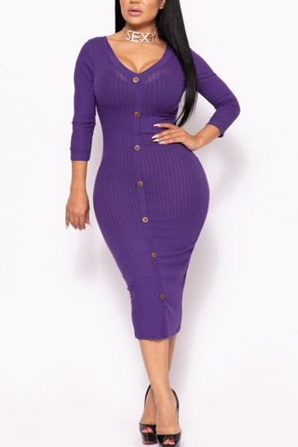 Ribbed, long sleeve solid midi dress-id.cc39731d