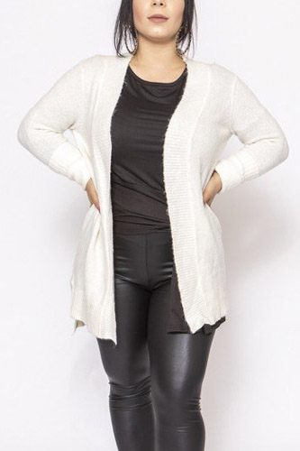 Solid, waffle knit cardigan in loose fit-id.cc39733