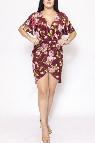 Floral print, velvet, short dress-id.cc39734